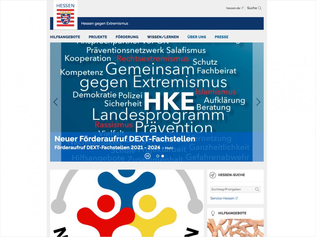 Screenshots der neuen Homepage des HKE