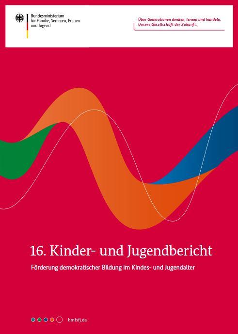 """Cover des 16. Kinder- und Jugendberichts """"Förderung demokratischer Bildung im Kindes- und Jugendalter"""