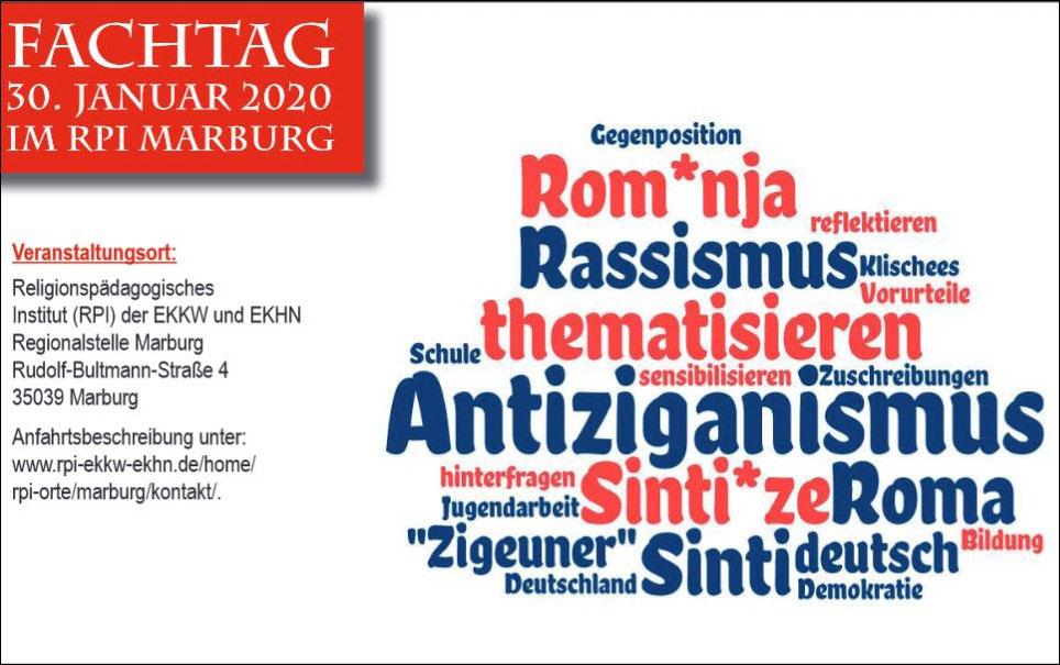 """Flyer-Cover zum Fachtag """"Antiziganismus - Herausforderung für Schule und Gemeinde"""" am 30. Januar 2020"""