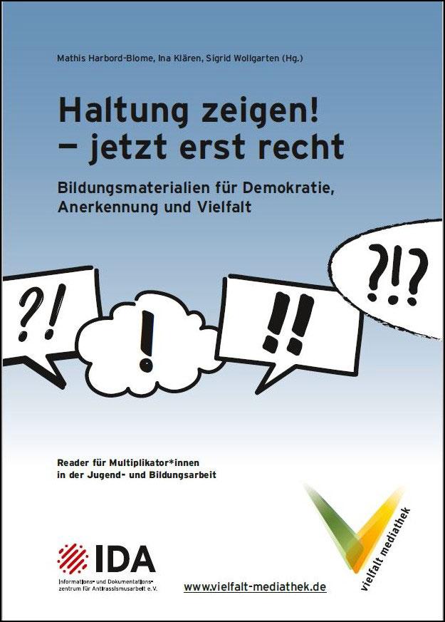 """Cover des neuen Readers der Vielfalt-Mediathek zum Bundesprogramm """"Demokratie leben!"""""""