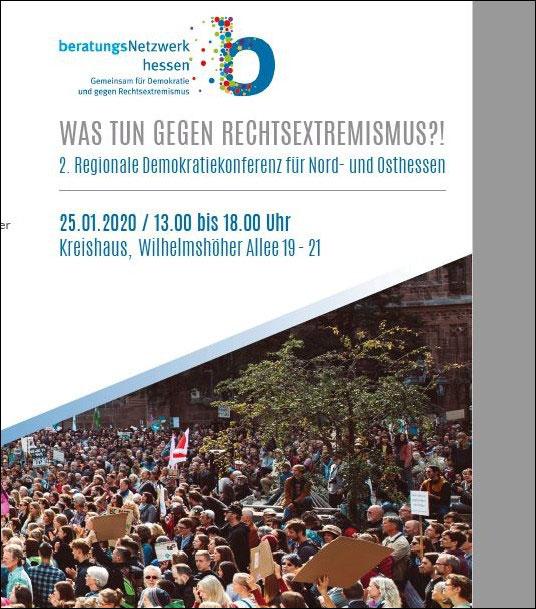 Cover-Ausschnitt Flyer zur Demokratiekonferenz für Nord- und Osthessen am 25. Januar 2020