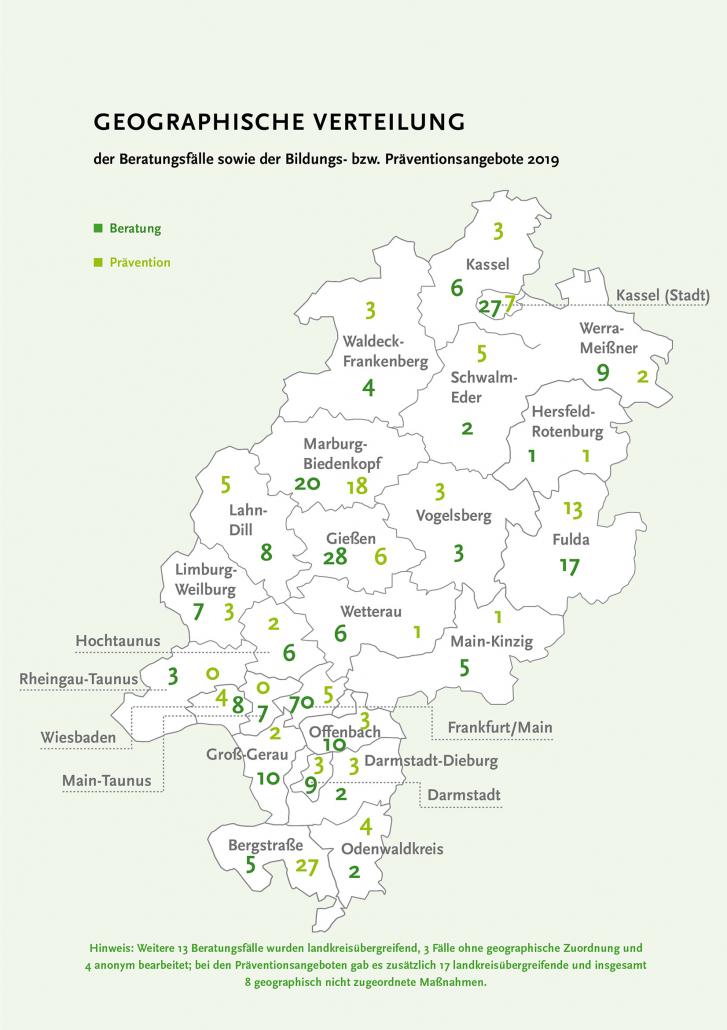 """Hessenkarte mit geographischer Verteilung der Beratungs- und Präventionsfälle """"Beratungsnetzwerks Hessen"""" im Jahr 2019. Copyright: Demokratiezentrum Hessen"""