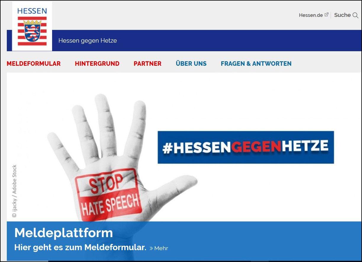 """Screenshot des Meldeportals """"Hessen gegen Hetze"""""""