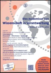 Ankündigungsplakat des Dies Academicus der Uni Marburg am 19. Mai mit Podiumsdiskussion zum Thema
